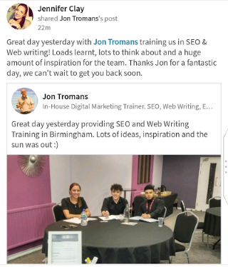 LinkedIn SEO Training Testimonial