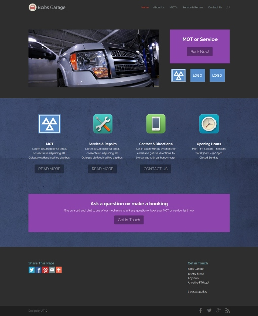Garage/Workshop Website Design