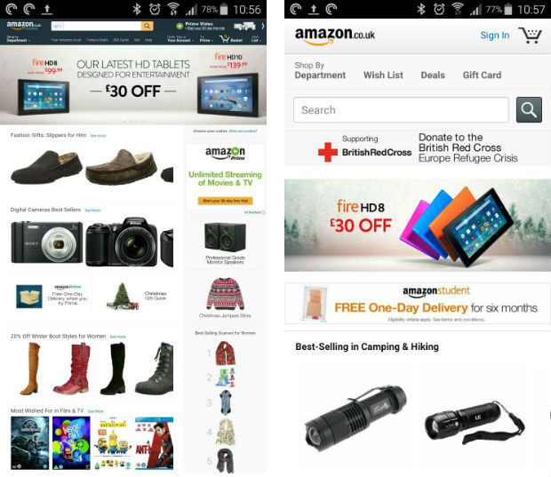 Amazon Desktop and Mobile