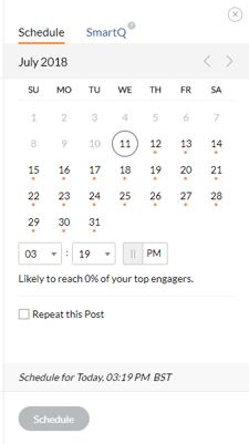 Zoho Social Post Composer Calendar